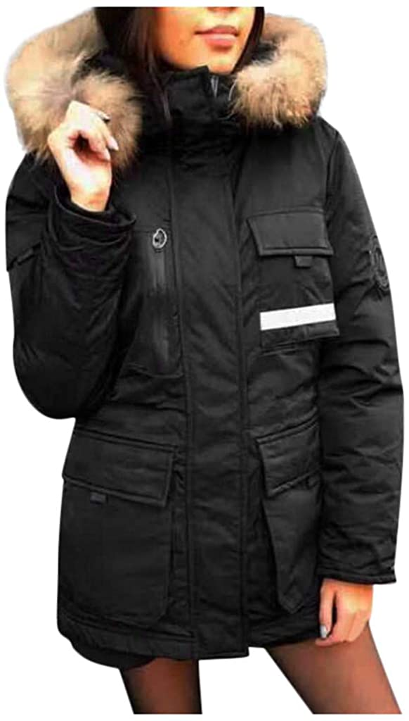 Ellymi Women's Solid Color Hooded Buttoned Cotton Jacket Winter Long Warm Thick Fleece Coat Outwear