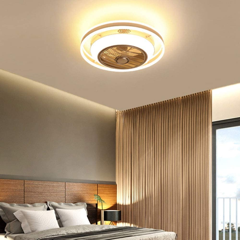 zZZ Light Negative Ion Air Purification Fan Light Modern Minimalist Dining Room Ceiling Lamp Living Room Invisible Ceiling Children's Bedroom Nordic Fan Light, Diameter 60 cm. Warm