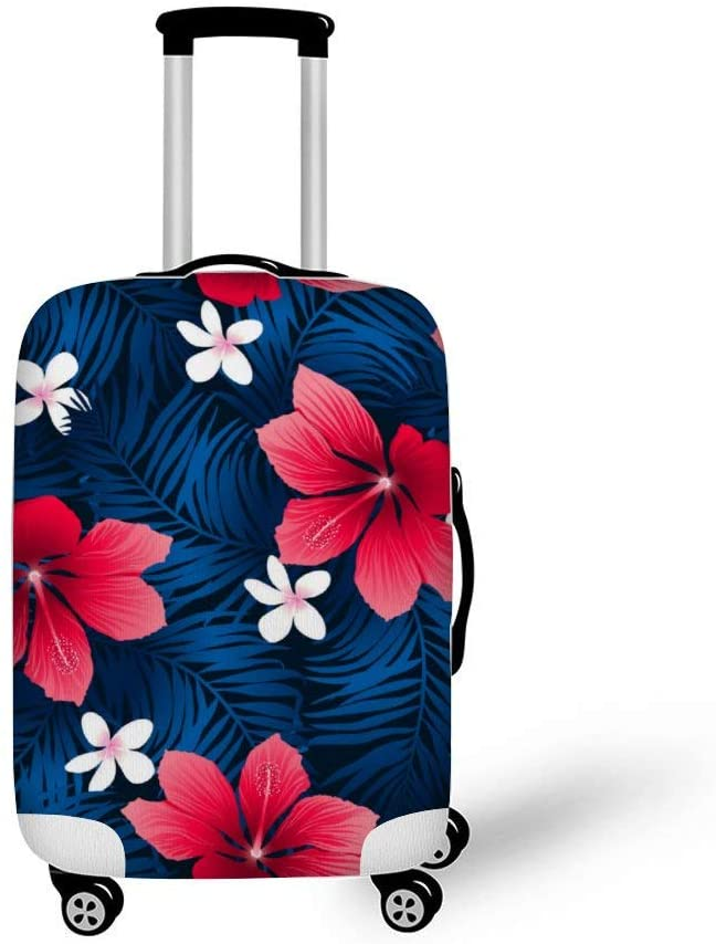 Tropical Red Hibiscus Flowers Fashionable Baggage Suitcase Protector Travel Luggage Cover Anti-Scratch