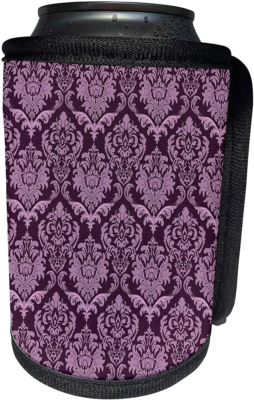 3dRose Anne Marie Baugh - Patterns - Dramatic Purple On Purple Large Damask Pattern - Can Cooler Bottle Wrap (cc_215714_1)