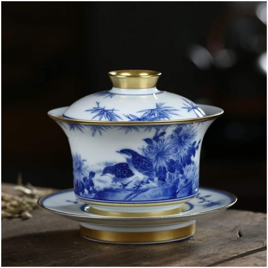 Bin Zhang Ceramic hand-painted blue and white tureen jade mud live and work in gilt tureen with God (Color : Natural)