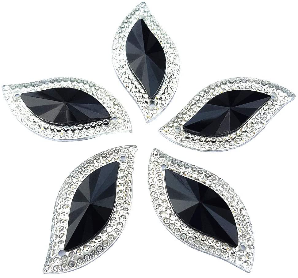 succi shan Sparkly 50pcs S Shape Shiny Black Gems Sew On Rhinestones Flatback Buttons for DIY Costume Clothing Dress Decorations 15x30mm