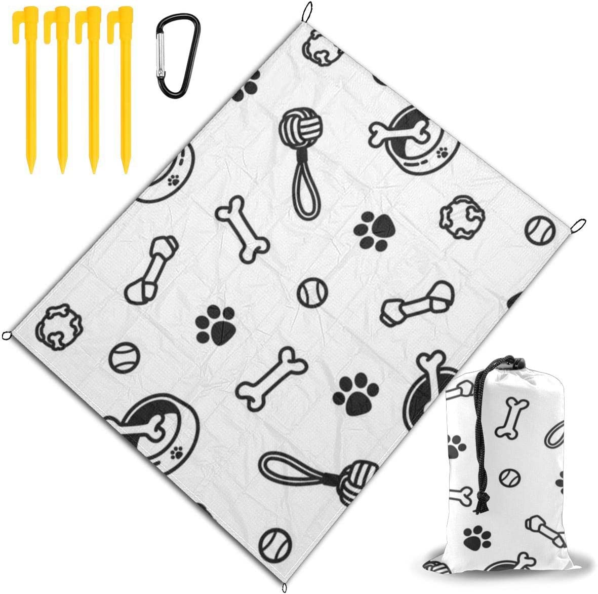 JEKYDOSD Dog Paws Bones Ropes Printed Picnic Mat,Travel Outdoor Beach Blanket Durable Waterproof Sand Beach Mat Blanket for Travel Camping Hiking 67