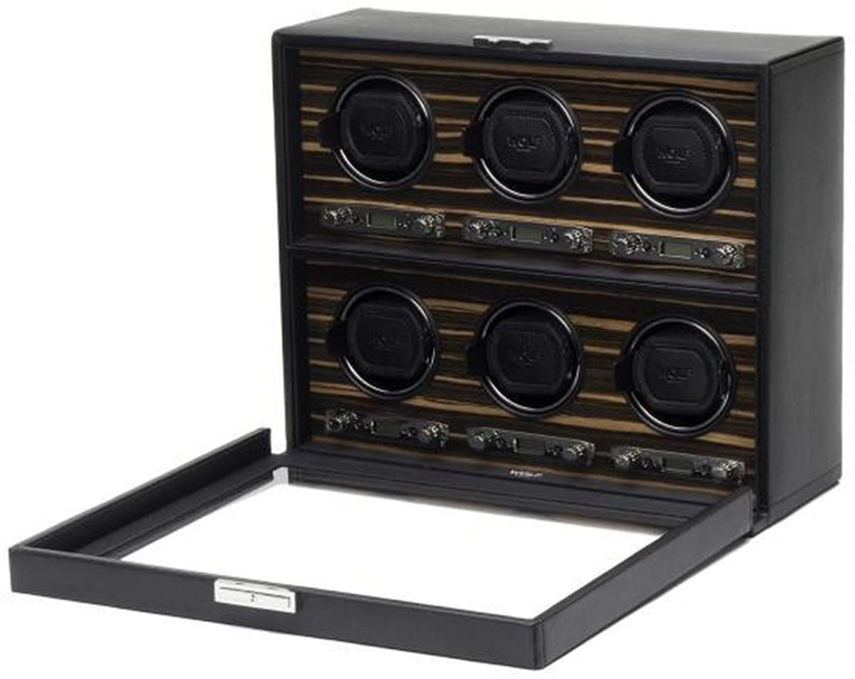 Men's Faux Leather 6 Watch Winder with Wood Veneer Glass Cover Key Lock and Patented Winding Programs