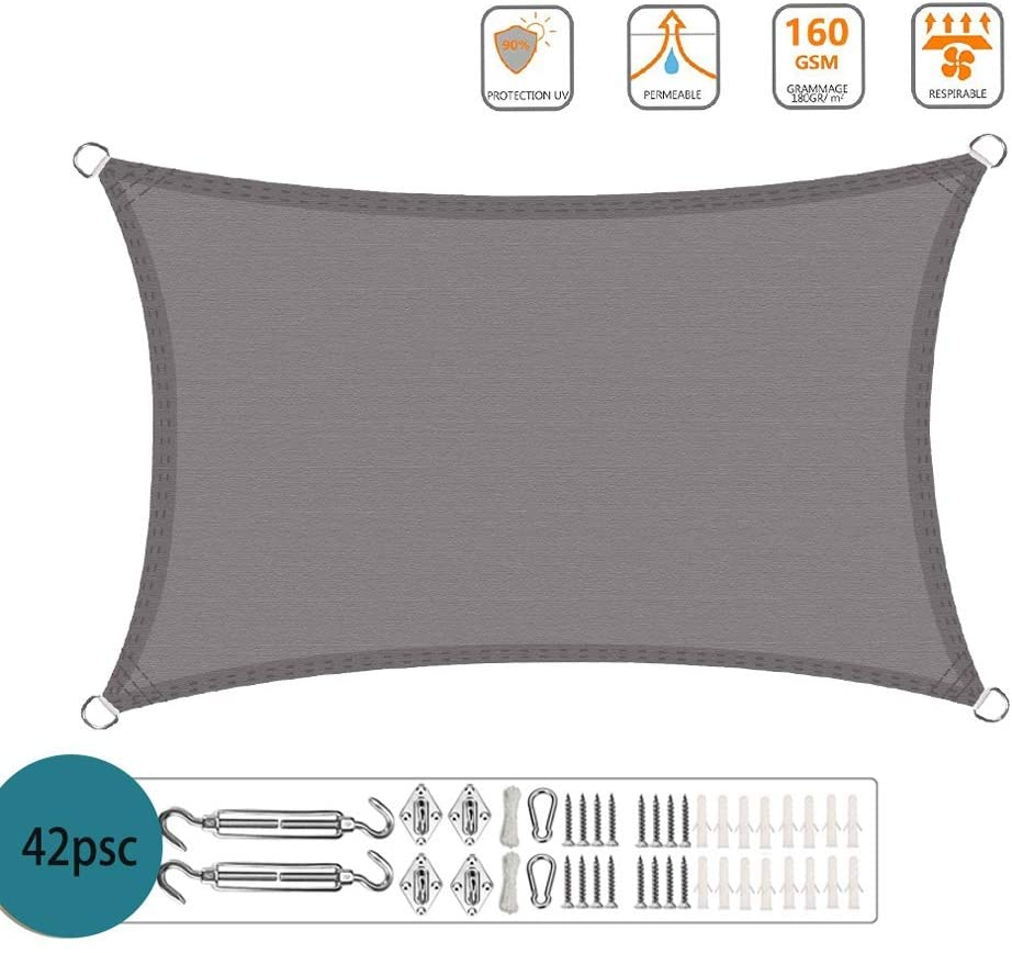 XXJF Sun Shade Permeable uv Block Waterproof,Durable Ropes Included Shade Sail Rectangle PES Polyester Sunshade Fabric Durable Perfect for Outdoor Patio Garden Yard (Color : Gray, Size : 2x4m)