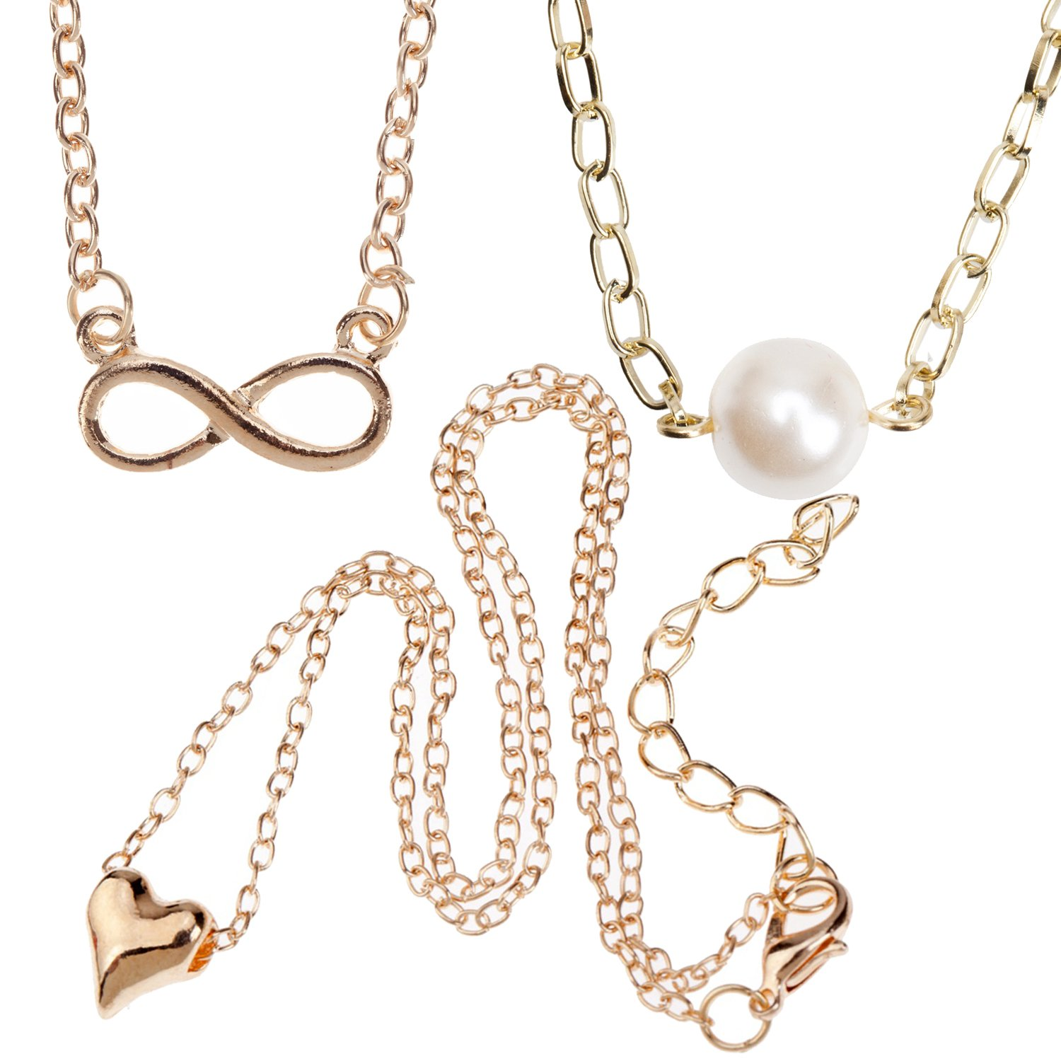 Jewelry Set/Kit/Lot of 3pcs Womens Ladies Girls Golden Fashion Necklaces With Different Pendants On Chains