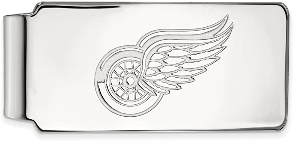 Solid 925 Sterling Silver Official NHL Detroit Red Wings Slim Business Credit Card Holder Money Clip - 53mm x 24mm