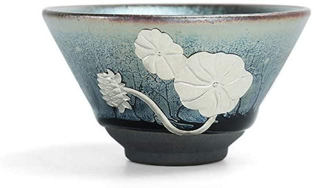 XinQuan Wang Built Zhancha Cup bergamot lotus meditation masters cup cup ceramic bowl (Color : Lotus flower in full bloom)