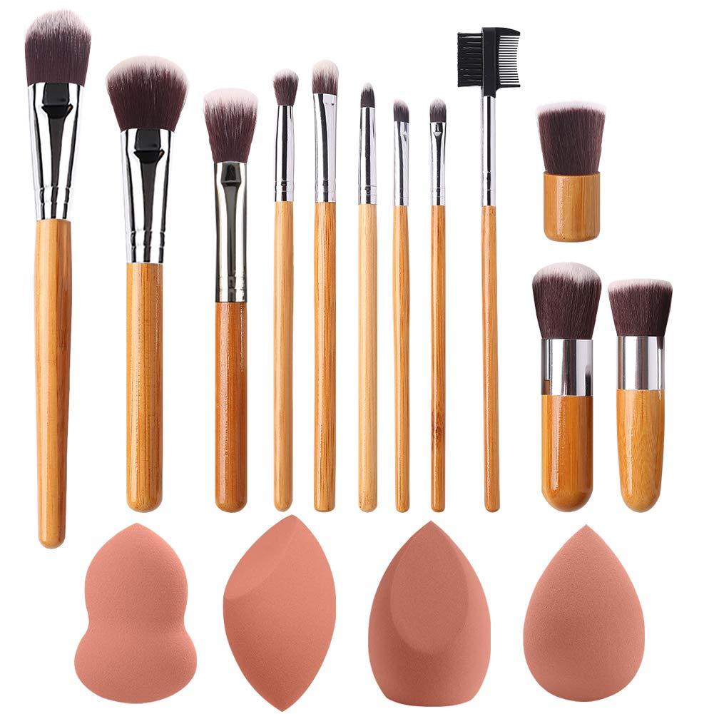 BEAKEY Makeup Brush Set and Makeup Sponge Set Bundle
