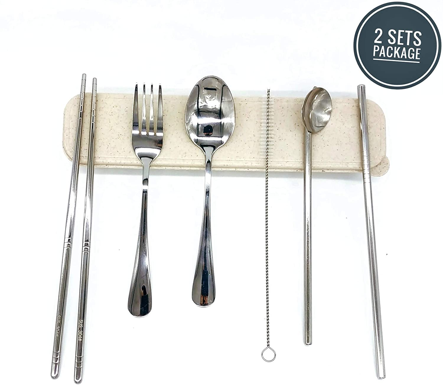 2 packs of 7pcs Portable Utensils boxset, Reusable Travel Camping Cutlery Set, Fork,Spoon,Chopsticks,Cleaning Brush, Straight Straw,Straw Spoon,Portable Wheat Case - 304 Food Graded Stainless Steel