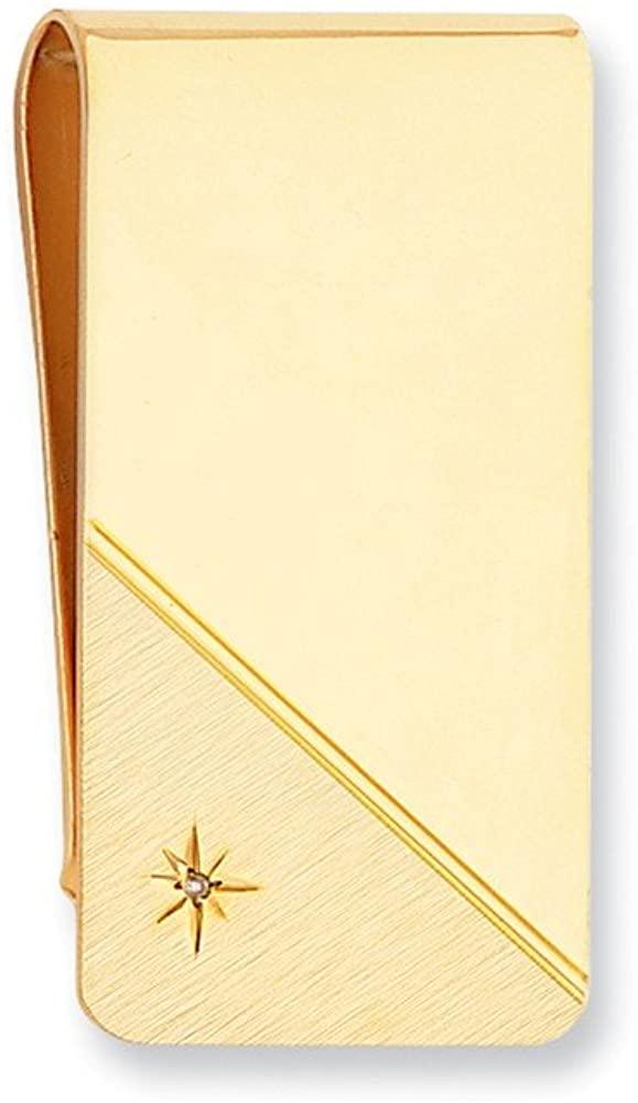 Sonia Jewels Gold-Plated Star Cut .001ct. Diamond Slim Business Credit Card Holder Money Clip - 50mm x 25mm