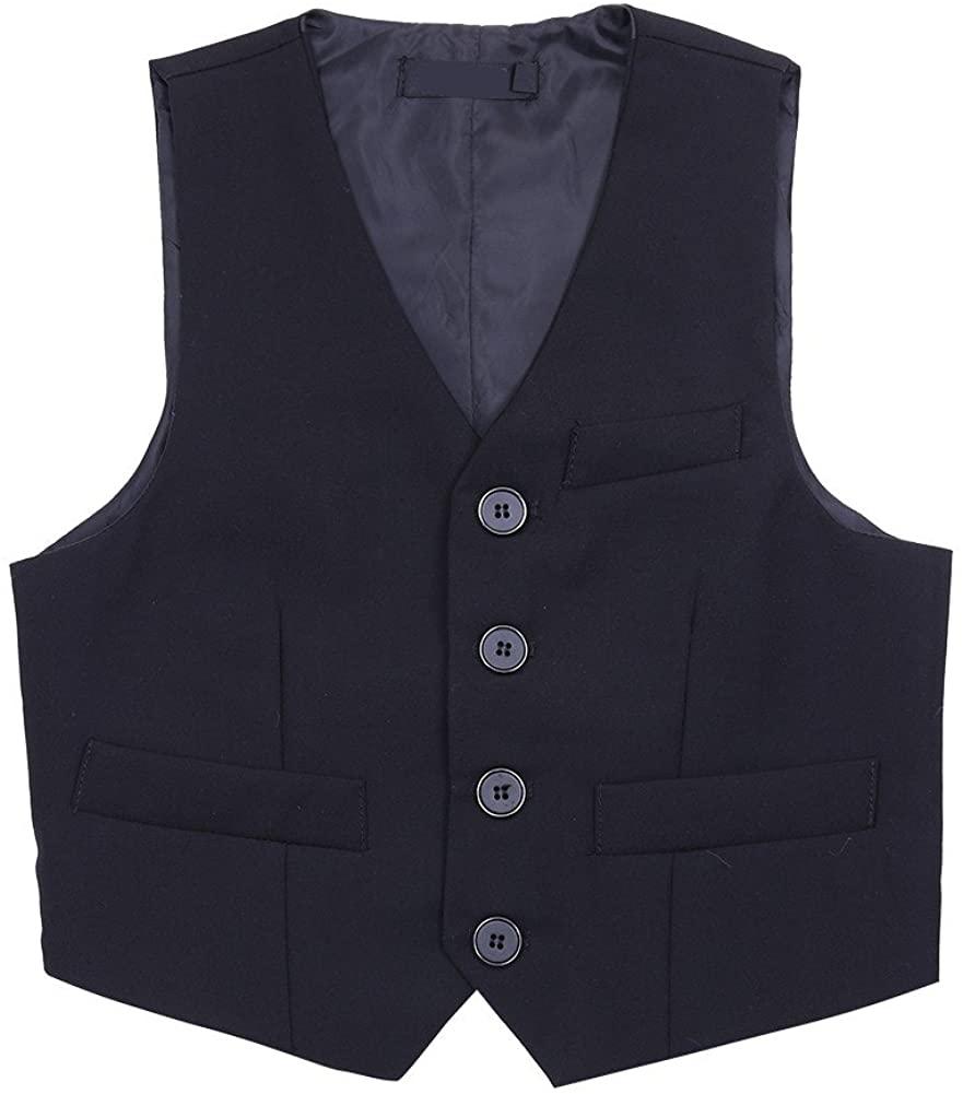 TiaoBug Kids Boys 3 Button Formal Suit Vest Wedding Party Gentleman Waistcoat Dress Up