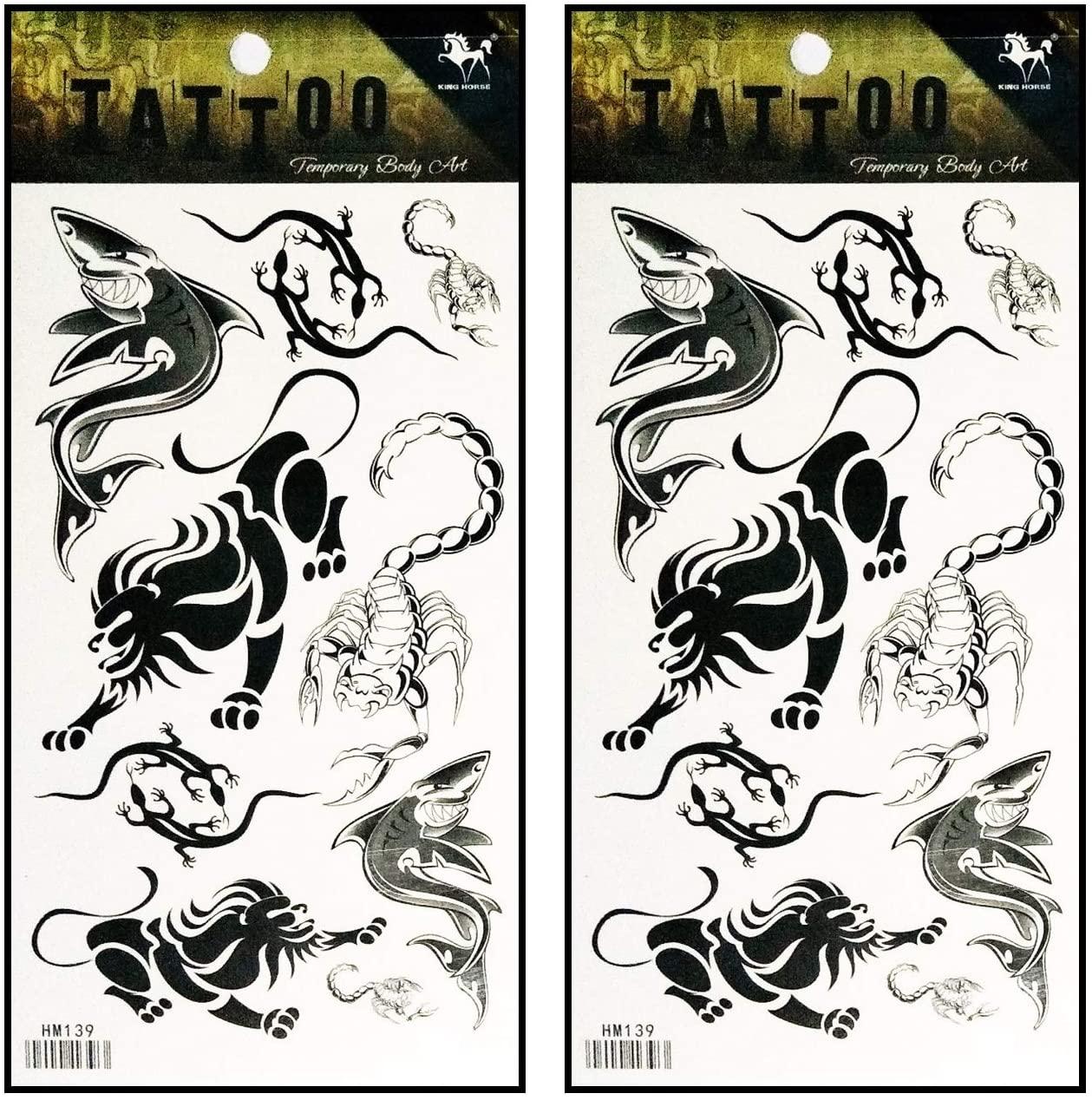 Tattoos 2 Sheets Lion Scorpion Lizard Shark Animal Waterproof Temporary Fake Tattoo Stickers Body Art Removable for Men Women