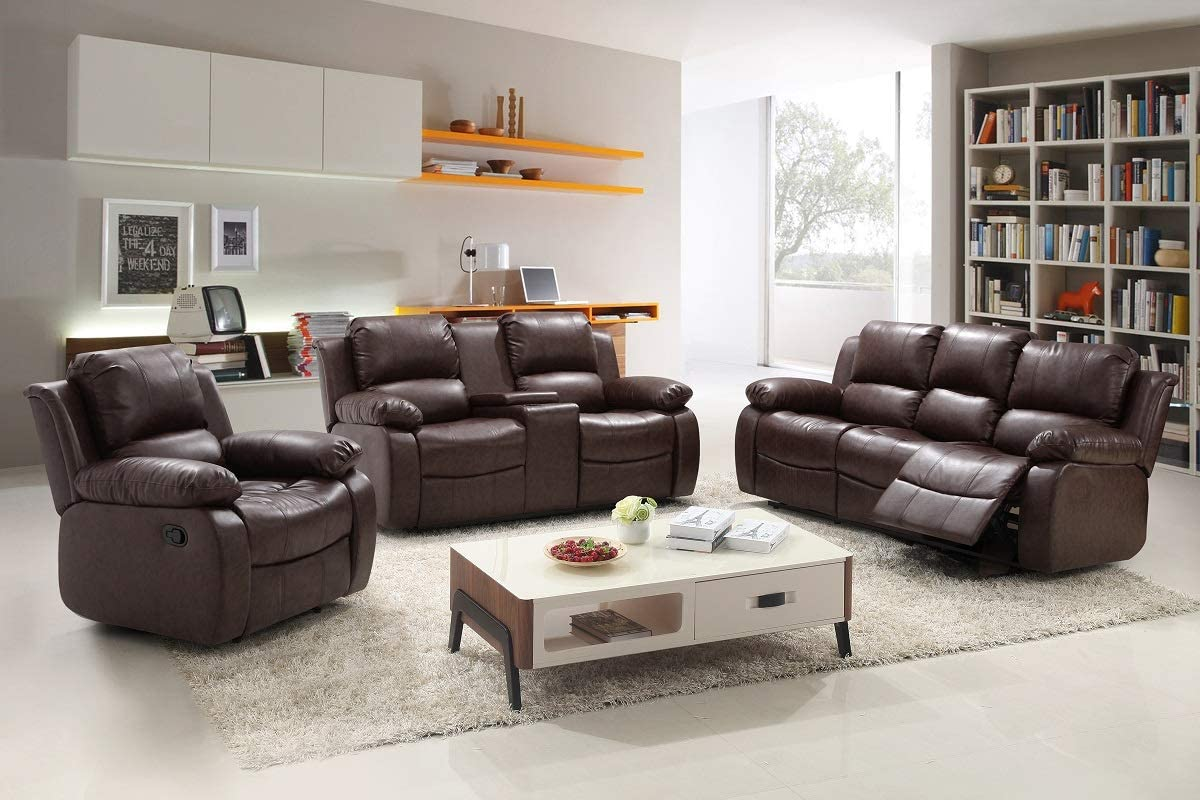 Hollywood Decor Apeldoorn 3 Pieces Modern Reclining Sofa Set in Bonded Leather (Brown)