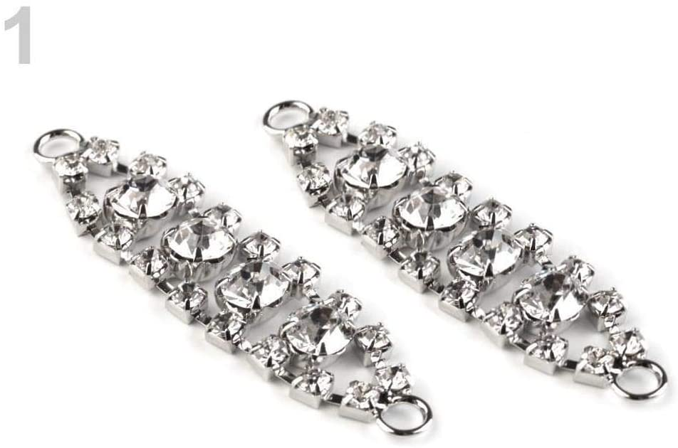 2pc Silver Rhinestone Decorative Adornment 12x50mm, Buckles, Ornaments, Fastening, Clothing, Footwear and Accessories, Haberdashery