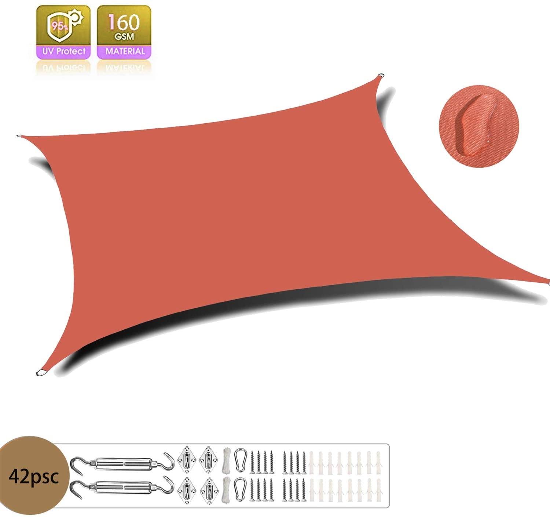 XXJF Sun Shade Waterproofuvblockweatherresistant Shade Sail Rectangle Durableshadefabricpespolyester Foroutdoorpatiogardenbackyard (Color : Orange red, Size : 3.5x3.5m)