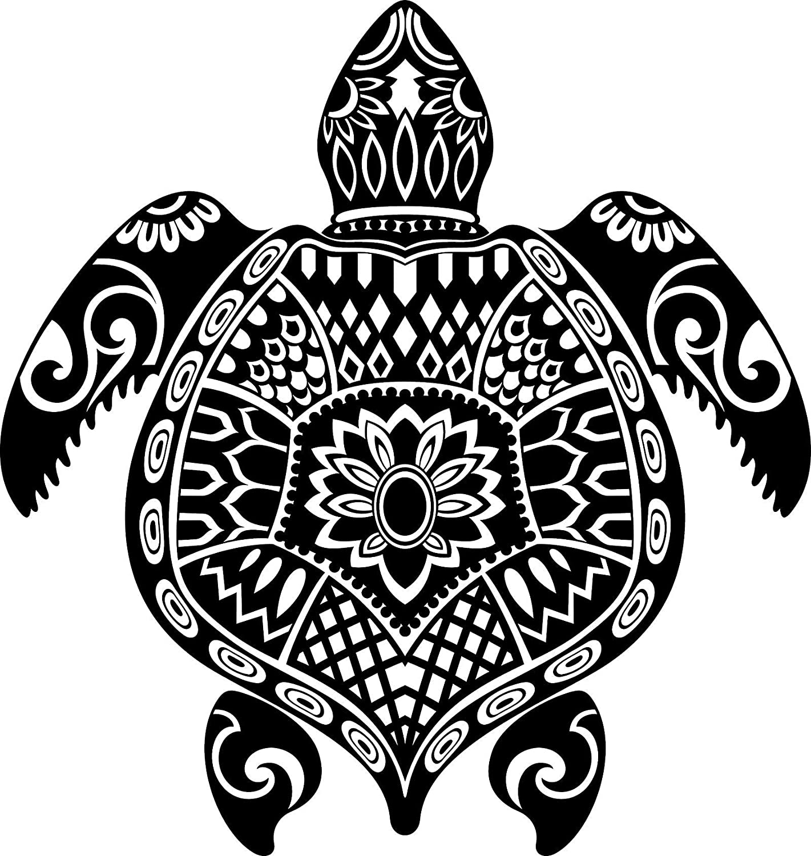 EW Designs Magnet Hawaiian Honu Turtle Tortoise with Tribal Pattern Magnetic Vinyl Magnet Bumper Sticker (4