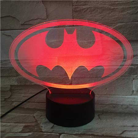 LED Night Light with Hero Man Logo Pattern,7 Colors Changing with USB Cable,Touch Remote Control, Best for Children Gift Baby Bedroom and Party Decorations.