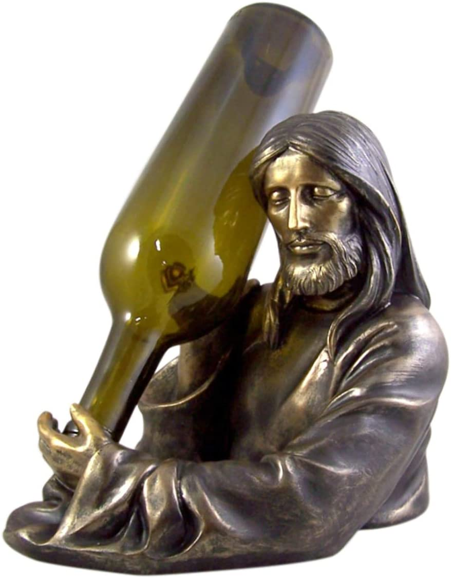 Bronze-Toned Resin Jesus Christ Holy Water into Wine Bottle Holder 8 1/2 Inch