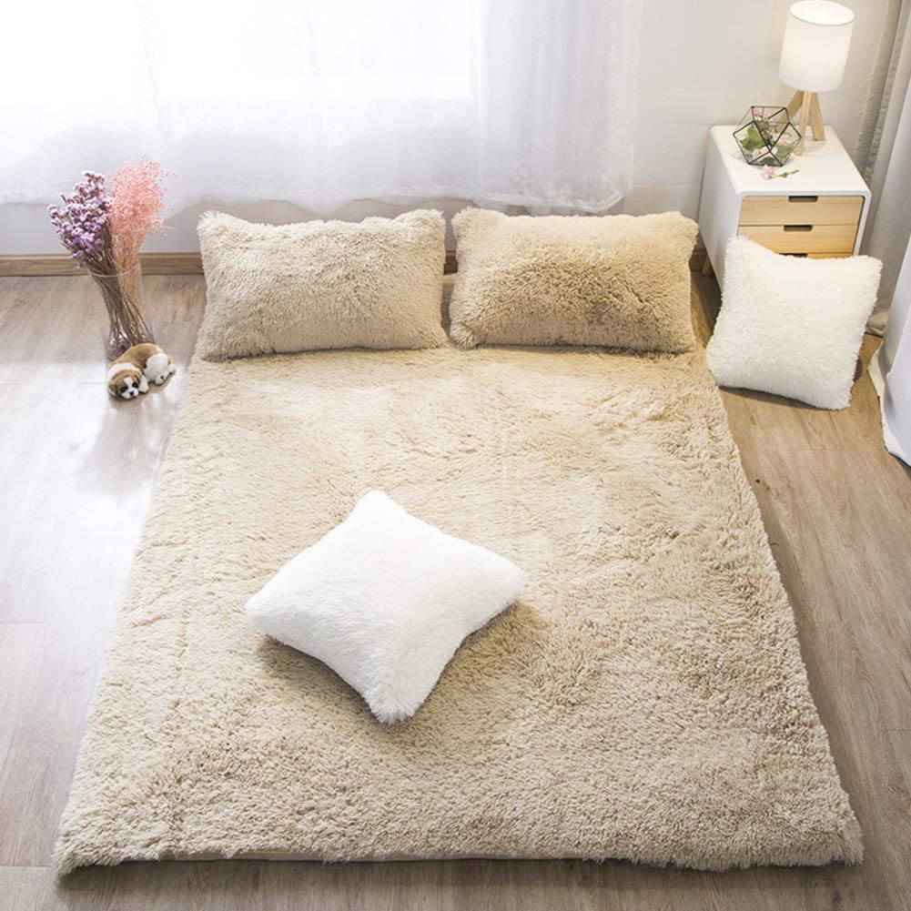 Removable Plush Tatami Floor mat, Soft Thick Mattress Topper Baby Floor Play mat Breathable Skin-Friendly Mattress-Camel 90x200cm(35x79inch)