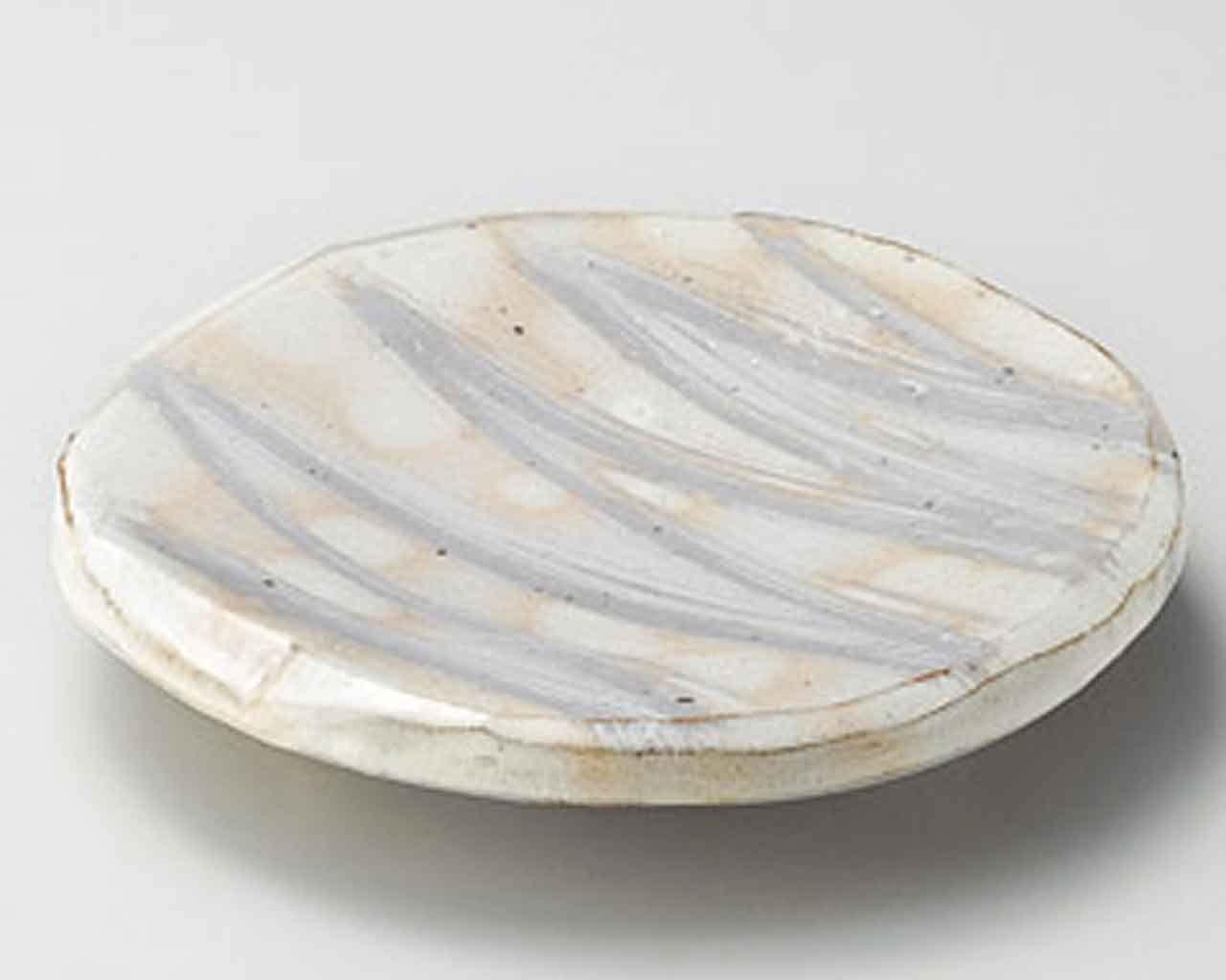 Kobiki Brush 8.3inch Set of 5 Medium Plates Beige Ceramic Made in Japan