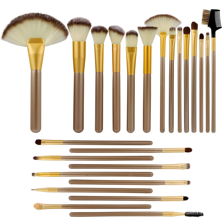 Makeup Brushes set, Moclever 24 Pcs Professional Makeup Brushes kit, Essential Cosmetics With Case bag for Face Eye Shadow Eyeliner Foundation Blush Lip Powder Liquid Cream Blending Brush - Champagne