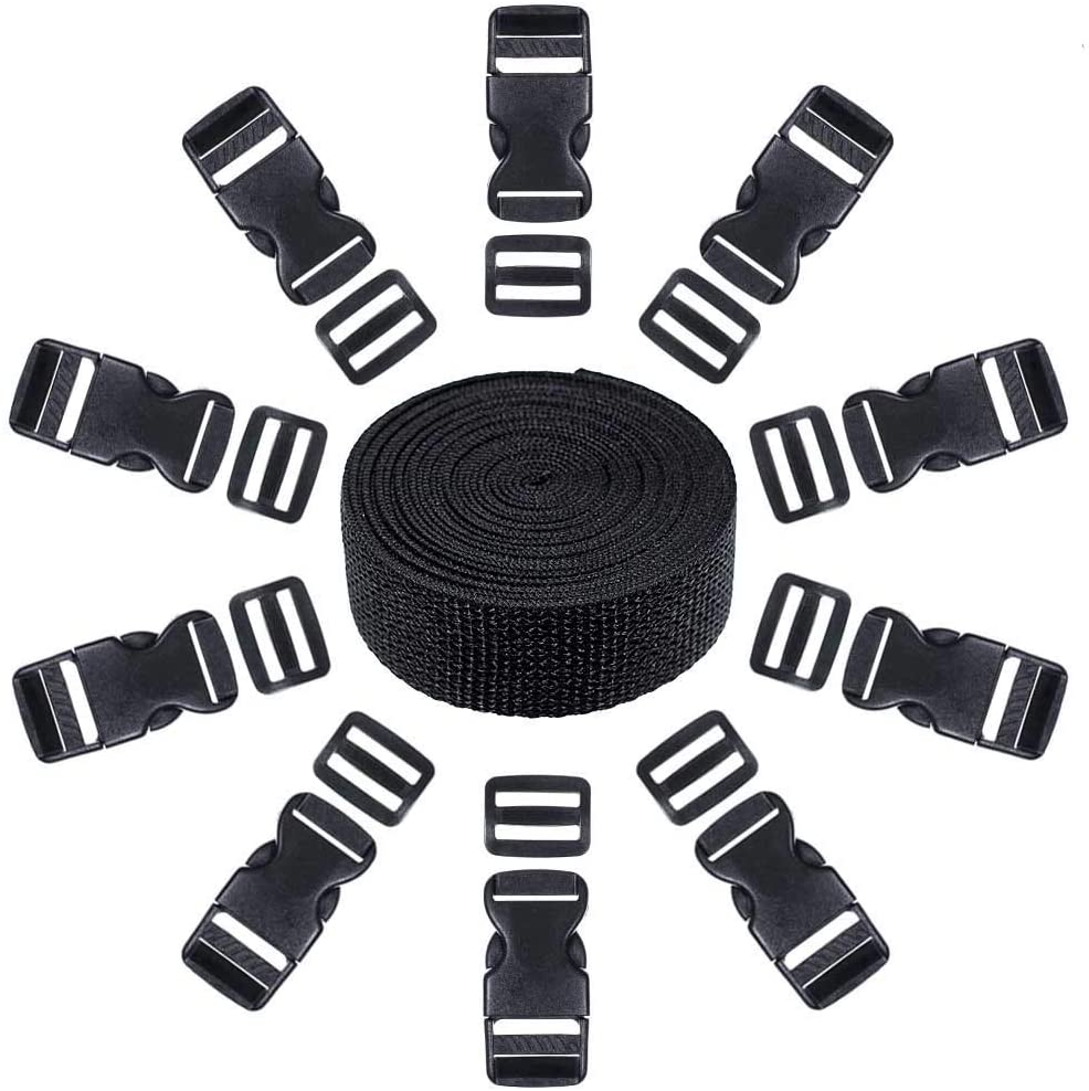 West Coast Paracord 21 Piece Set of 10 Black Plastic 1 Inch Flat Side Release Buckles, 10 Tri-Glide Adjustment Clips, 1 Compatible 10 Yard Roll of 1 Inch Wide Black Nylon Web Strapping