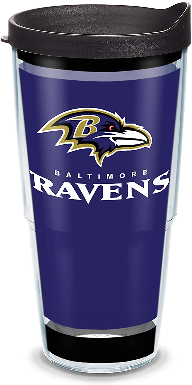 Tervis NFL Baltimore Ravens - Touchdown Insulated Tumbler with Wrap and Black Travel Lid, 24 oz - Tritan, Clear