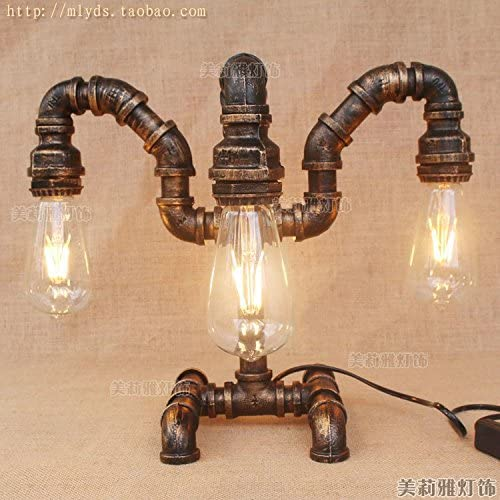 JRRB Bedroom Retro Restaurant Living Iron Bar Bar Bar Water Tube Table Lamp Room Industrial Study,led??