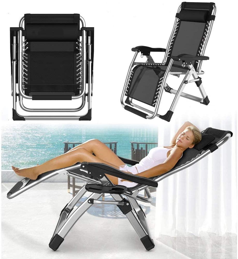 Folding Reclining Garden Deck Chair Sun Lounger Zero Gravity,Office Chair Ergonomic Adjustable Back Support,Relaxing Chair with Foot Rest