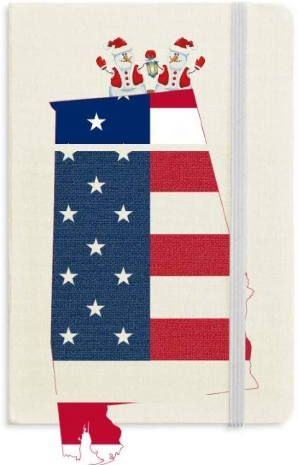 United States USA Map Stars Stripes Flag Shape Christmas Snowman Notebook Thick Hardcover