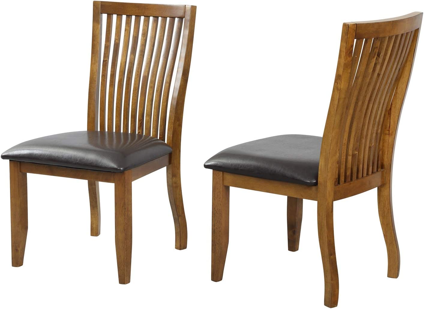 XIAOTIAN 2-Piece Dining Chair Set with PU Covered Cushion and Solid Wood Legs