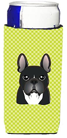 Caroline's Treasures BB1289MUK Checkerboard Lime Green French Bulldog Ultra Beverage Insulators for slim cans, Slim Can, multicolor