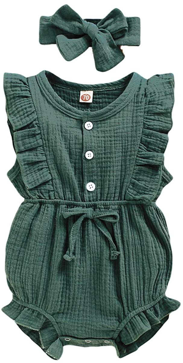 Mioglrie Newborn Baby Girl Romper Cotton Linen Solid Infant Summer Clothes