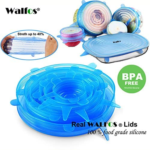 Silicon Stretch Lids Universal Lid Silicone Food Wrap Bowl Pot Lid Silicone Cover Pan Cooking Kitchen Accessories (Blue)