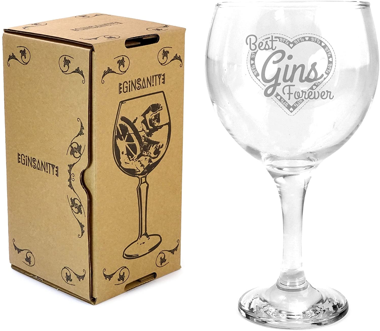 Ginsanity 22oz (645ml) Gin & Tonic Copa Balloon Cocktail Glass & Giftbox - Best Gins Forever!