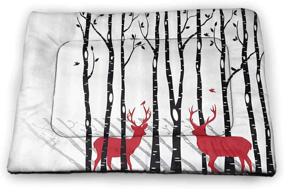 carmaxs Pad Pet Antlers Decor Rectangle Mat for Dogs and Cats Deer Horns Bouquet Flowers Bloom Fun Springtime Garden Branches