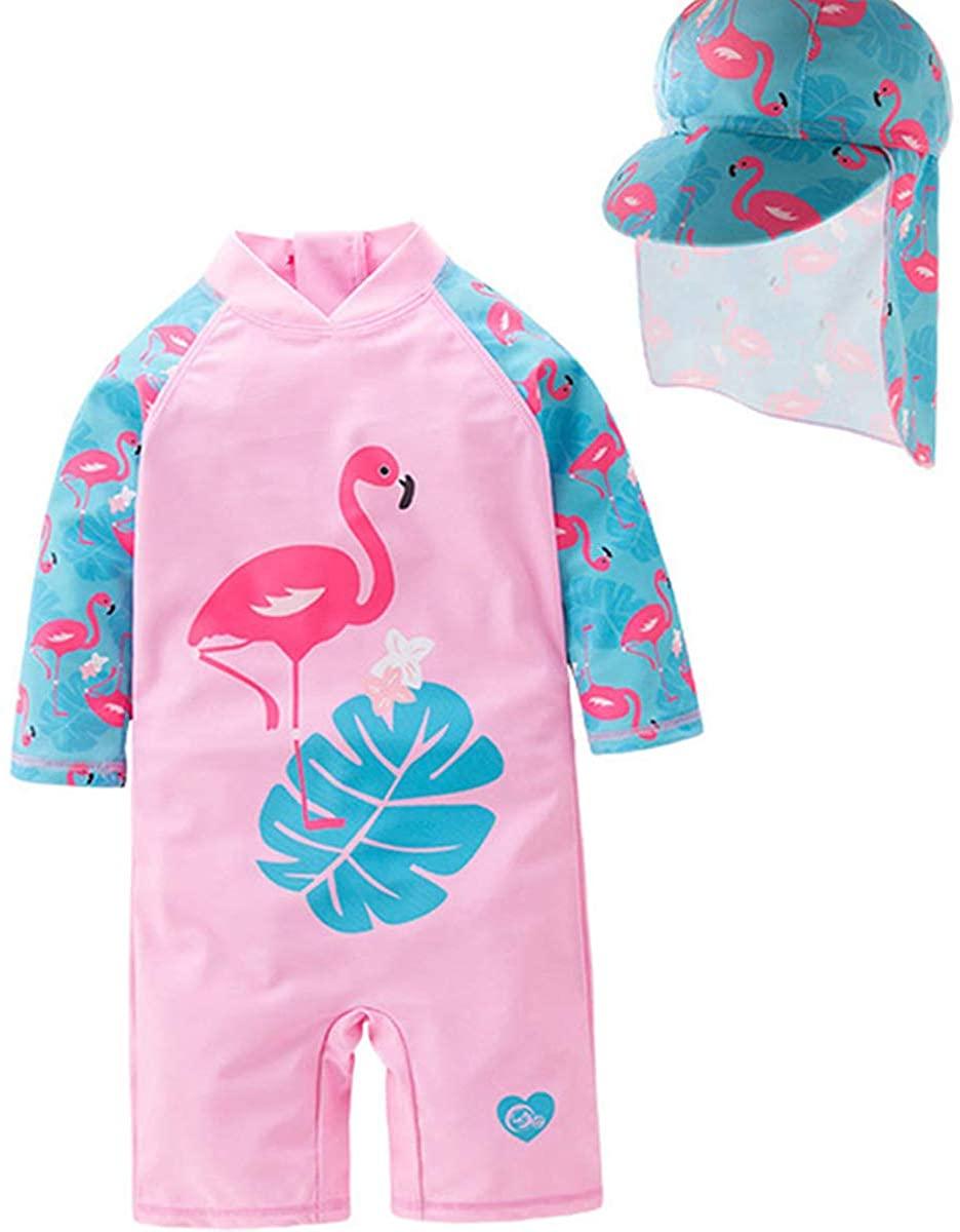 Unicorn Swimwear Girls One Pieces Rash Guard Set Flamingo Sun Suits with Sun Hat UPF 50+