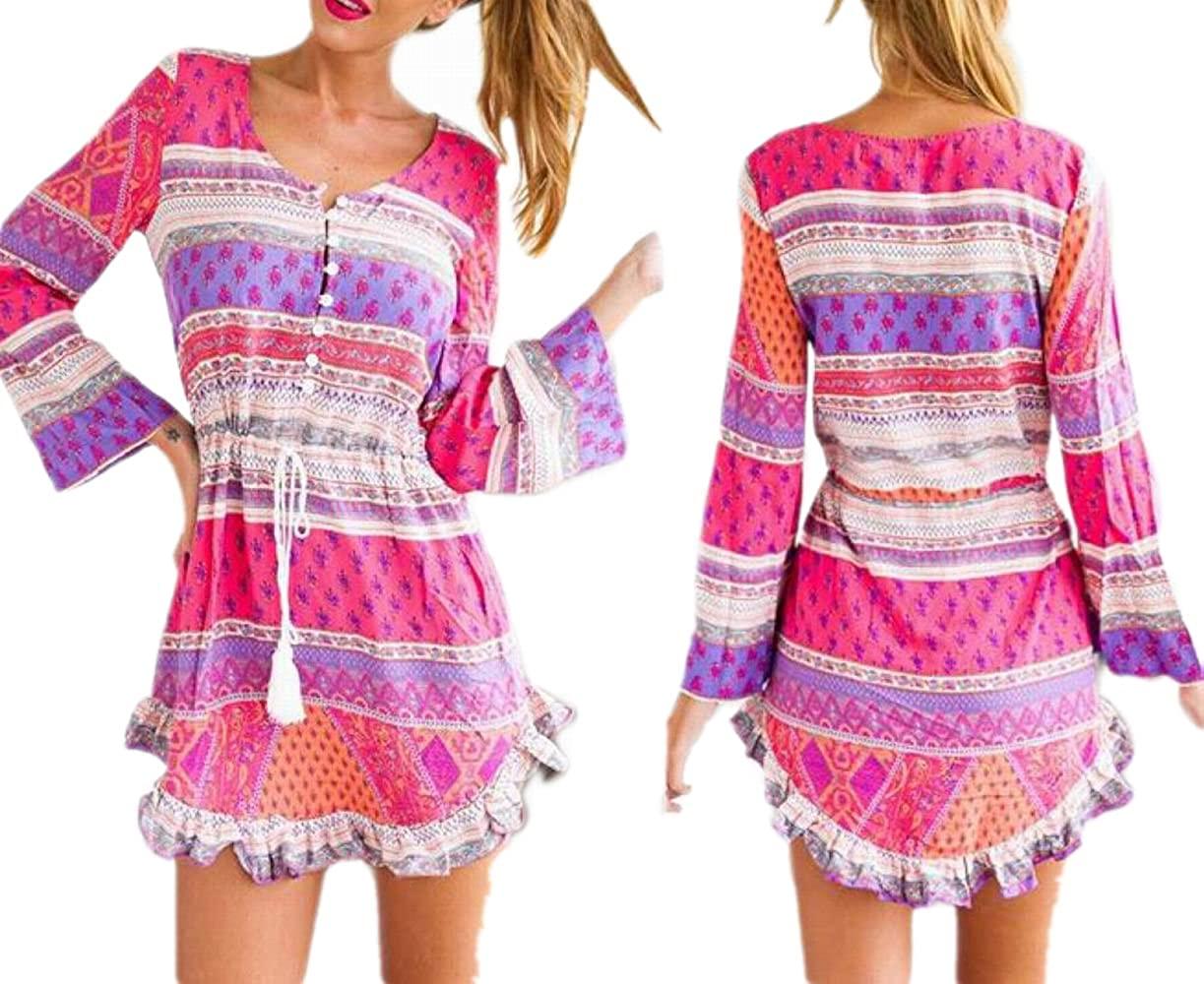 JJ-GOGO Printing Round Neck Long-Sleeved Sexy Women Summer Dress