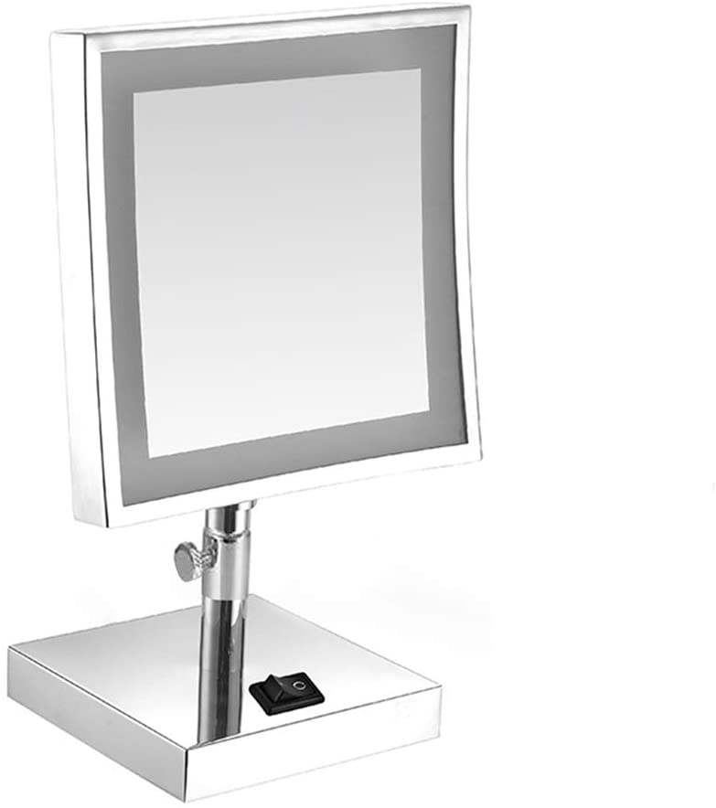 Premium Modern Makeup Mirror,Height Adjustable Swivel Lighted Makeup Mirror,Rectangle Polished Chrome Countertop Vanity Mirror Silvery 20x20cm(8x8inch)