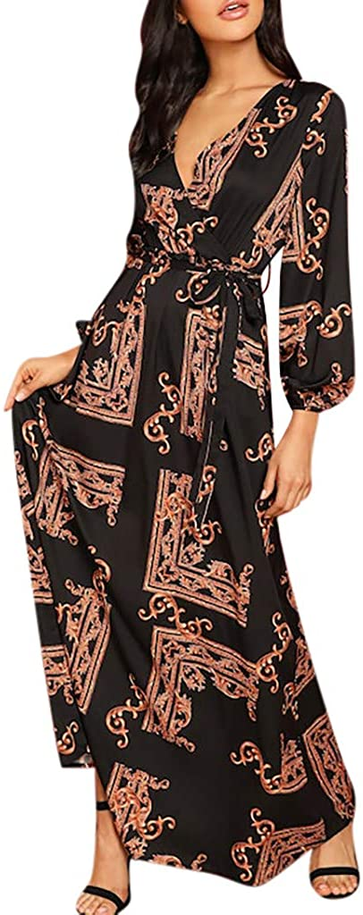 YOCheerful Elegant Long Dress Women V-Neck Long Sleeve Dress Printing Lantern Sleeve Vintage Wrap Dress with Belt