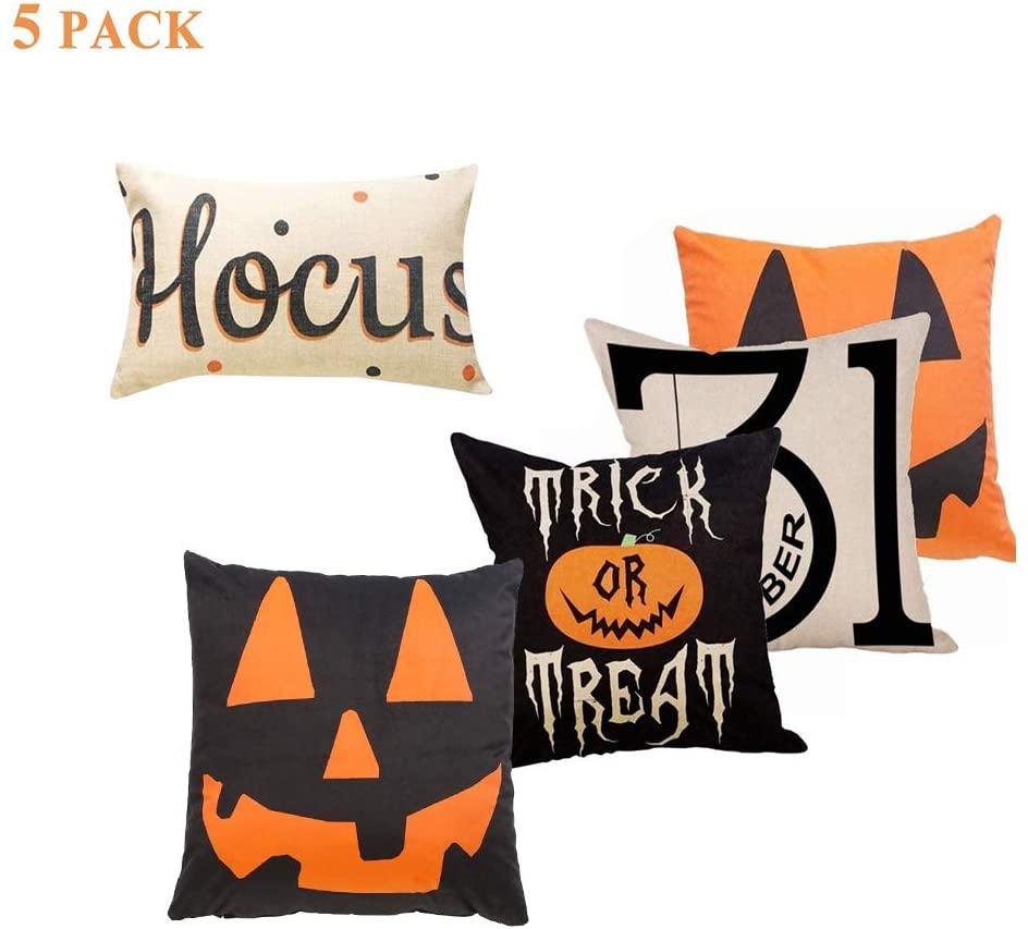 Sweetdecor 5 Pack Halloween Cotton Linen Home Decor Cushion Covers Throw Pillow Covers Pillow Case :18 x 18/12 20