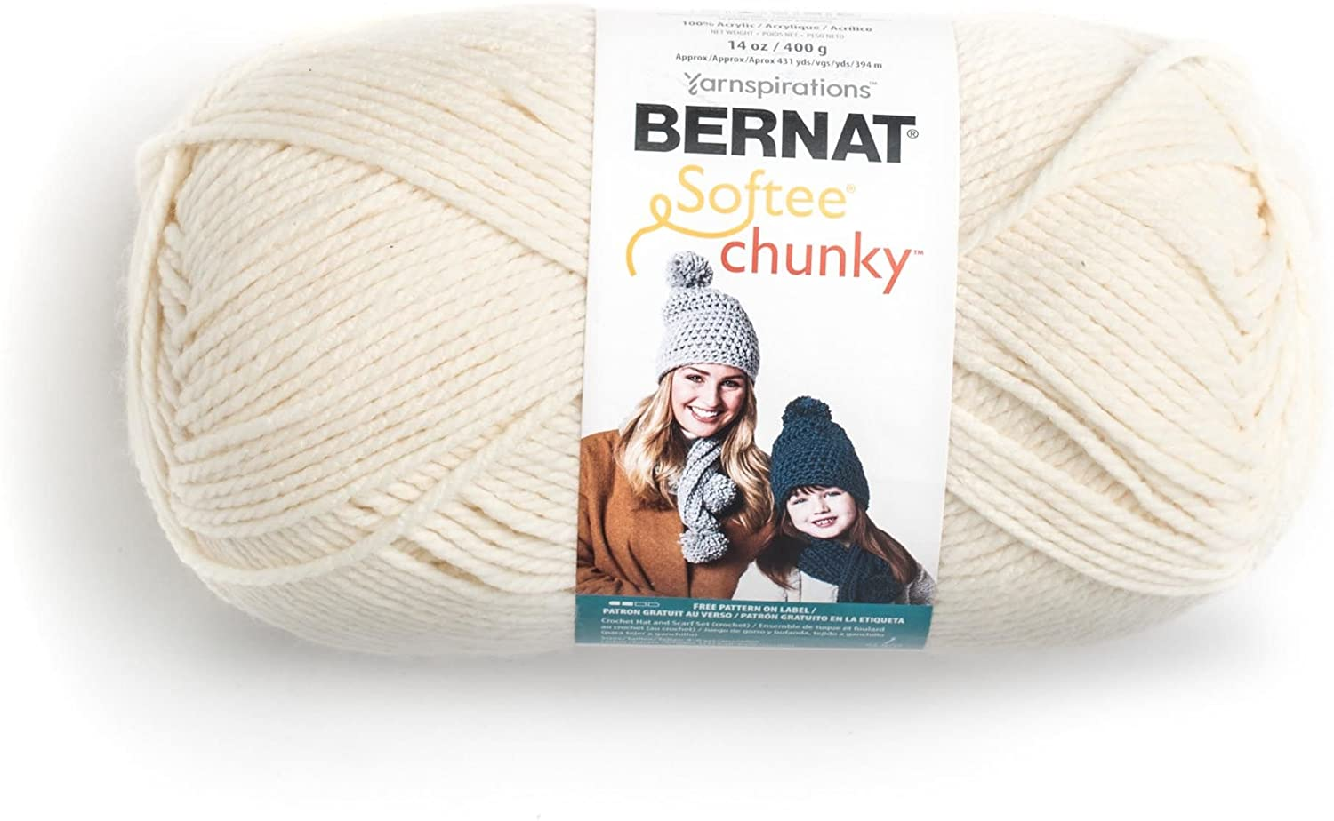 Bernat 16113030008 Big Ball Chunky Solid Yarn - (6) Super Bulky Gauge 100% Acrylic - 14 oz - Cream -  Machine Wash & Dry