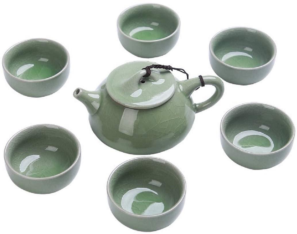 Ceramics Tea Pot Set,Porcelain Gift Set Ge Kiln Teapot Filter Cup Set Traditional Handmade Home Decoration (10pcs set)