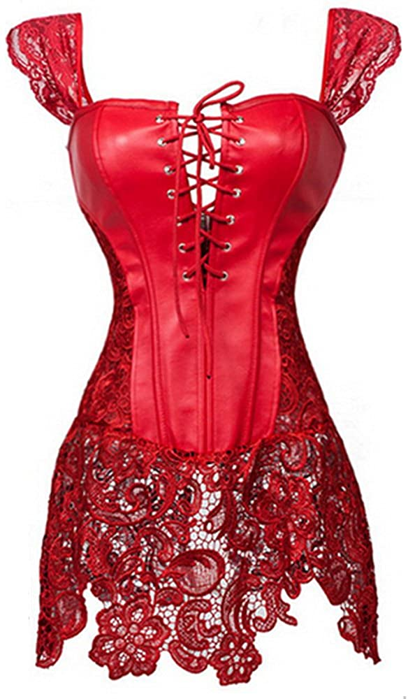 PINSE Steampunk Faux Leather Gothic Corset Dress Overbust Black Corset (L, Red)