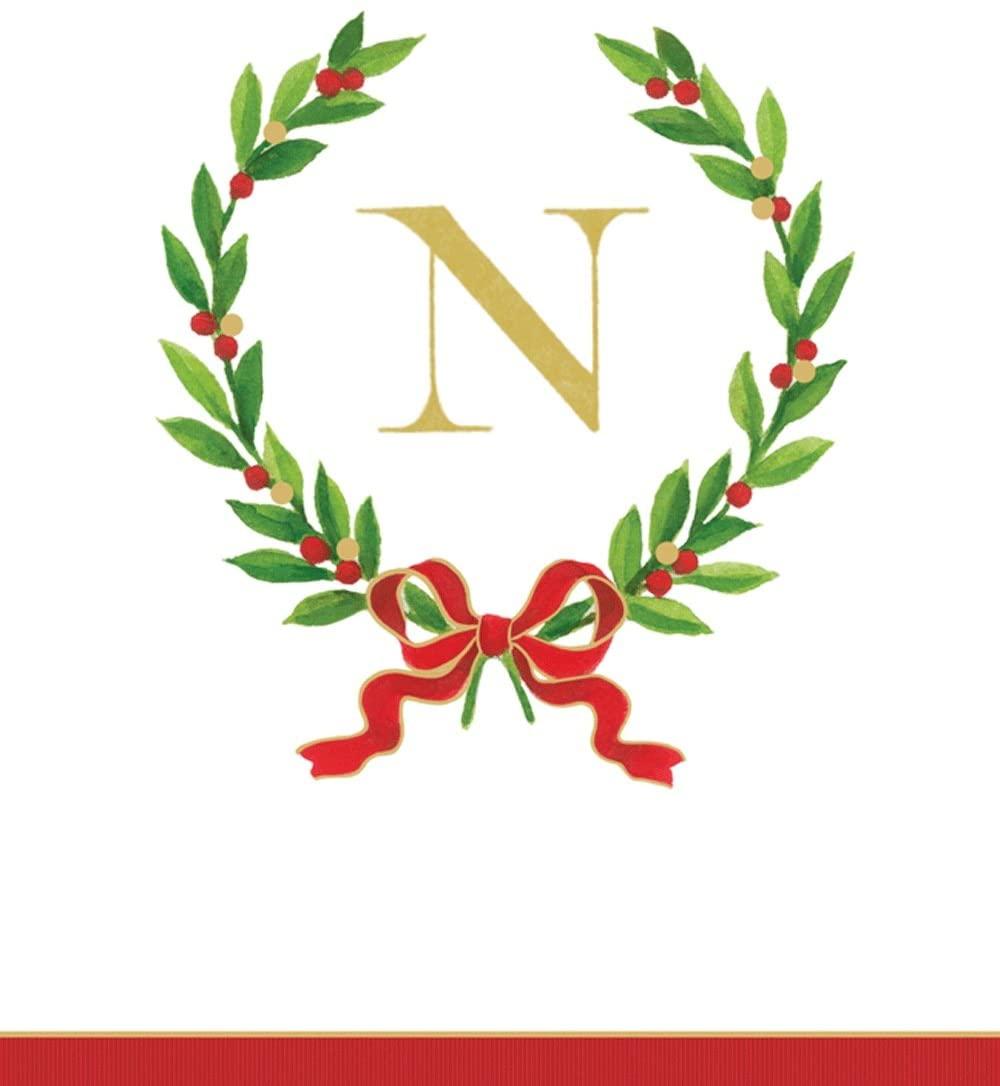 Entertaining with Caspari Christmas Laurel Wreath Paper Guest Towels, Monogram Initial N, Pack of 15
