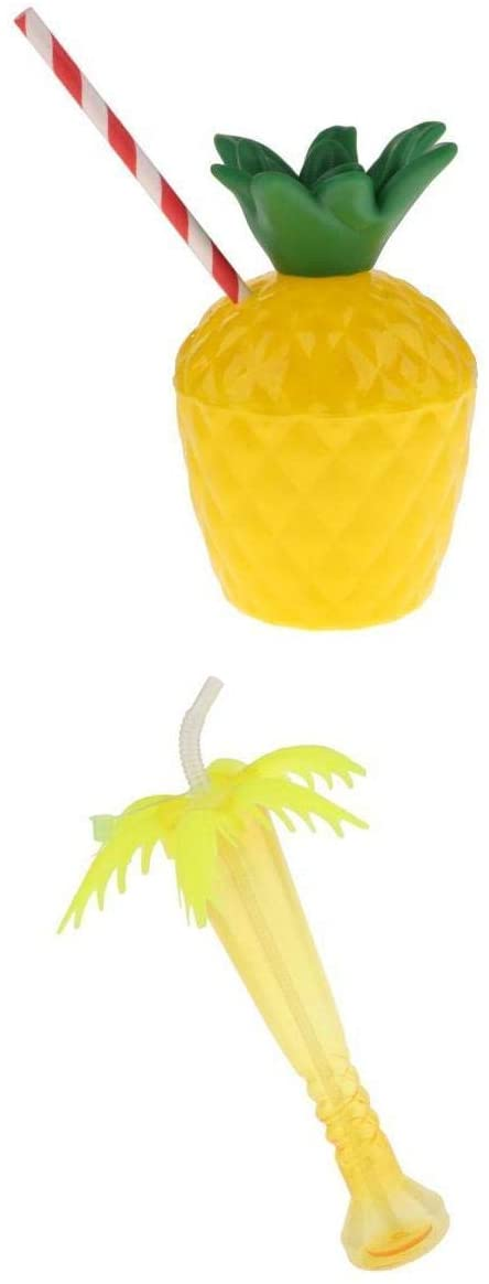 2pcs Plastic Pineapple Cup Palm Tree Yard Cup Home Bar Party Tableware