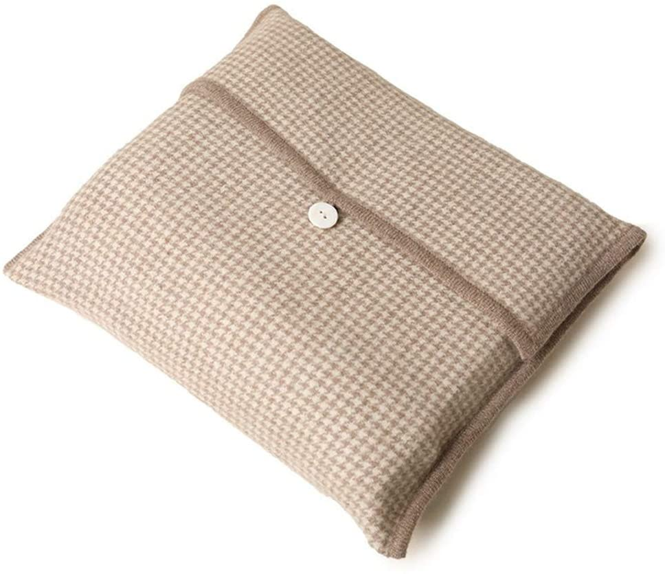 JIEXIU 100% Cashmere Houndstooth Travel Blanket to facilitate Warm Inner Mongolia in Autumn and Winter (Beige)