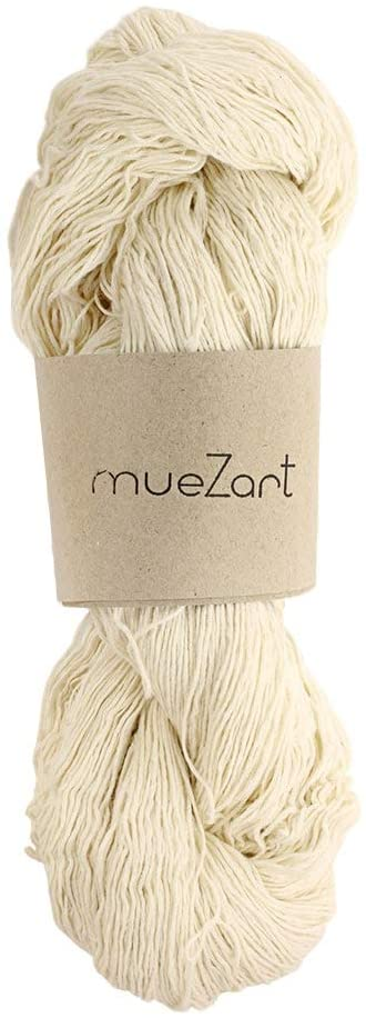 Muezart 100% Natural Eri Silk Yarn | 100g Skein 600 Yards (Approx) | 60/9 Light Fingering | Weaving and Crochet | Undyed