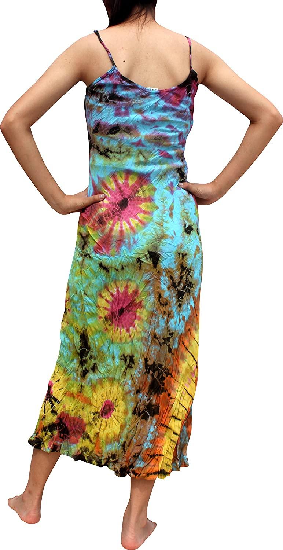 RaanPahMaung Tie Dye Summer Rayon Dress Long Curves Spaghetti Strap Blue sz L